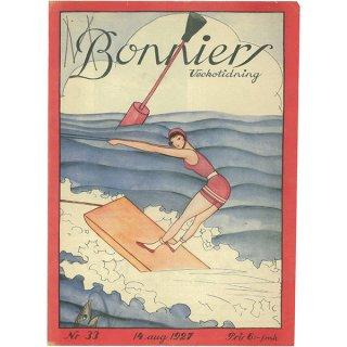 スウェーデンの古い雑誌表紙 Bonniers 1927-8-14 Nr33 065(ヴィンテージプリント)