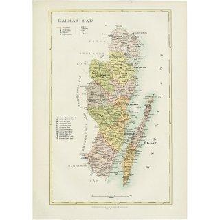 スウェーデンのアンティークマップ(古地図) カルマル 003