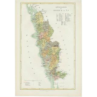 スウェーデンのアンティークマップ(古地図) göteborgs -och bohusläns 004