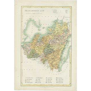 スウェーデンのアンティークマップ(古地図)Skaraborg Län 006