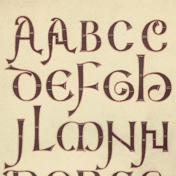 イギリスアンティークプリント タイポグラフィ/アルファベット 0027