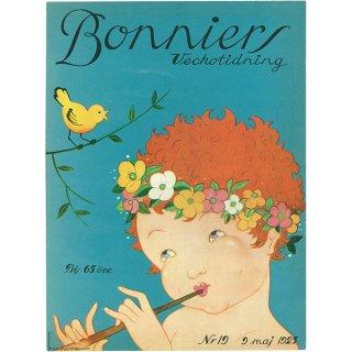 スウェーデンの古い雑誌表紙 Bonniers 1925-5-9 Nr19 068(ヴィンテージプリント)