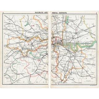 ロンドン 鉄道&郵便アンティークマップ 地図015