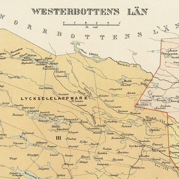 スウェーデンのアンティークマップ(古地図)ヴェステルボッテン 016