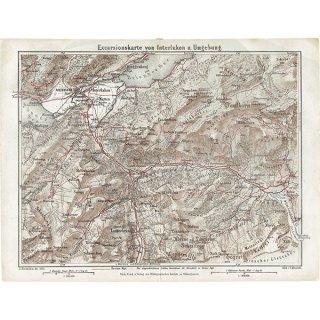 スイスのアンティークマップ ブリエンツ湖周辺(ドイツ語の古地図)022