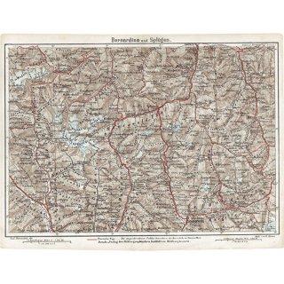 スイスのアンティークマップ ベルナルディーノ・シュプリューゲン周辺(ドイツ語の古地図)023