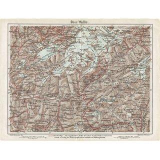 スイスのアンティークマップ レッチェンタール周辺(ドイツ語の古地図)027