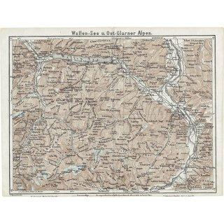 スイスのアンティークマップ ヴァレン湖周辺(ドイツ語の古地図)028