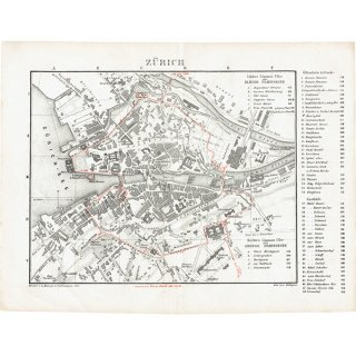 スイスのアンティークマップ チューリッヒ市街地(ドイツ語の古地図)029