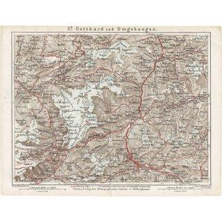 スイスのアンティークマップ ゴッタルド峠周辺(ドイツ語の古地図)032