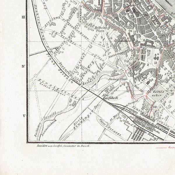 スイスのアンティークマップ バーゼル市街地(ドイツ語の古地図)035