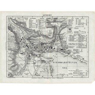 スイスのアンティークマップ ルツェルン(ドイツ語の古地図)036