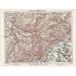 スイスのアンティークマップ ベルナー・オーバーラント周辺(ドイツ語の古地図)037
