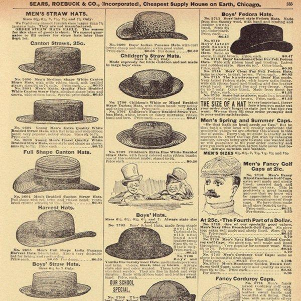シアーズ・ローバック通販カタログより帽子 ハット(1968年)sr020