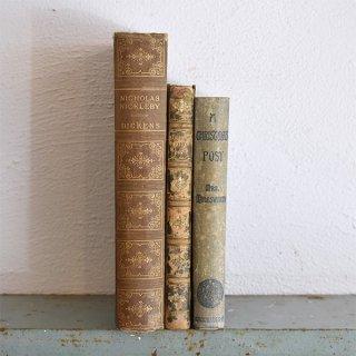 イギリス アンティークブック 古い洋書 3冊セット ディスプレイ046