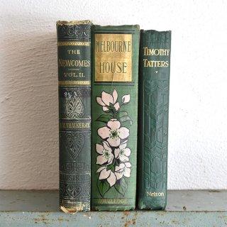 イギリス アンティークブック 古い洋書(グリーン系) 3冊セット ディスプレイ057