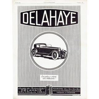 DELAHAYE(ドライエ)1926年クラシックカーのヴィンテージ広告 0037