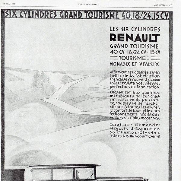 RENAULT(ルノー) 1928年クラシックカーのヴィンテージ広告 0054