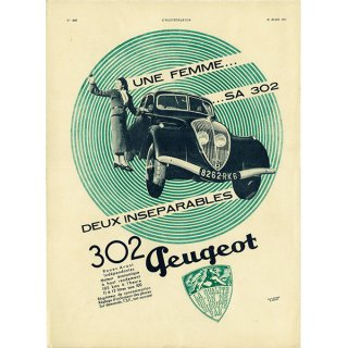 Peugeot302(プジョー302)1937年 フレンチヴィンテージ広告  0061