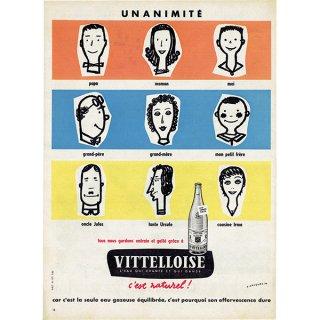VITTELLOISE(ヴィッテル) ミネラルウォーターのフレンチヴィンテージ広告 1958年 0187
