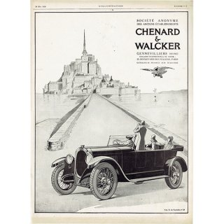 Chenard & Walcker(シュナール・ワルケル)とモン・サン=ミシェル 1926年 フレンチヴィンテージ広告  0074