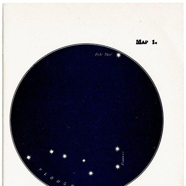 【天文学】星座アンティークプリント(北斗七星/北極星 MAP1) 0054