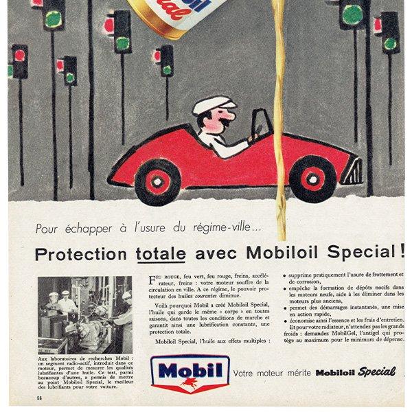 SAVIGNAC(レイモン・サヴィニャック) mobil oil ヴィンテージ広告 1958年 0208