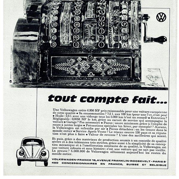 1962年 フォルクスワーゲンビートル(VW Beetle)フレンチヴィンテージ雑誌広告 0085