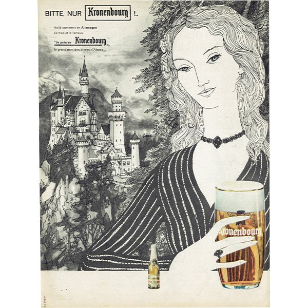 Kronenbourg(クローネンブルグ) フレンチヴィンテージ広告 1963年 0217<img class='new_mark_img2' src='https://img.shop-pro.jp/img/new/icons5.gif' style='border:none;display:inline;margin:0px;padding:0px;width:auto;' />