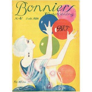 スウェーデンの古い雑誌表紙 Bonniers 1924-10-11 Nr41 (ヴィンテージプリント) 0227
