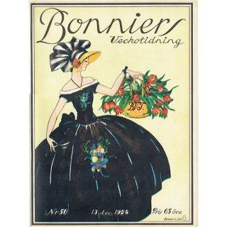 スウェーデンの古い雑誌表紙 Bonniers 1924-12-13 Nr50 (ヴィンテージプリント) 0229