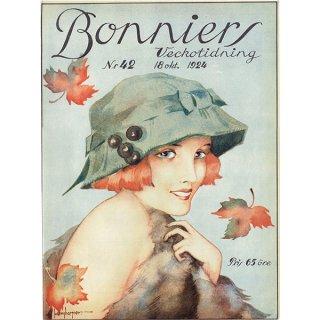 スウェーデンの古い雑誌表紙 Bonniers 1924-10-18 Nr42 (ヴィンテージプリント) 0231