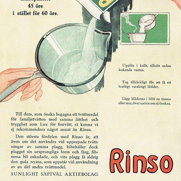 スウェーデンヴィンテージ広告 / Rinso(洗濯用洗剤) 1924年 0237