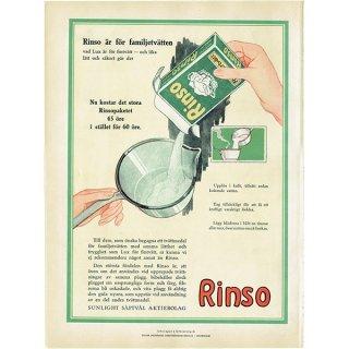 スウェーデンヴィンテージ広告 / Rinso(洗濯用洗剤) 1924年 0237<img class='new_mark_img2' src='https://img.shop-pro.jp/img/new/icons5.gif' style='border:none;display:inline;margin:0px;padding:0px;width:auto;' />