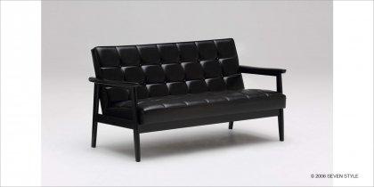 【送料無料】カリモク60 Kチェア2シーター(ブラックブラック)