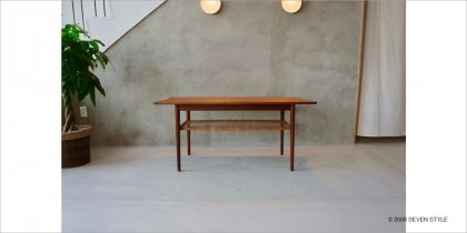 【リペア前】Coffee table with rattan rack