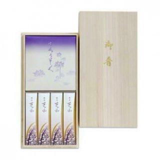 日本香堂のお線香ギフト 銘香芝山 絵ろうそくセット 桐箱