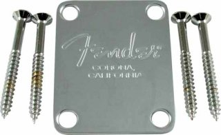 Neck Plate - Fender, for American Standard Bass, Chrome