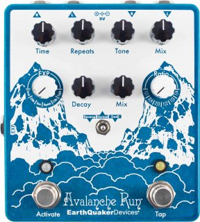Effects Pedal – EarthQuaker Devices, Avalanche Run, Stereo Reverb & Delay with Tap Tempo