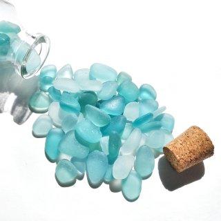 BZ-30 シーグラス入り小瓶オブジェ (水色系)