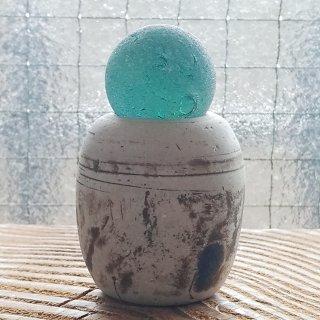 BZ-44 大粒シーマーブルと陶器のおもり オブジェ