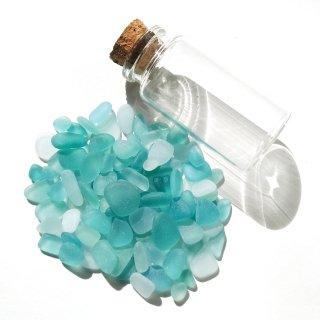 BZ-47 水色系シーグラス(ビーチグラス)入り小瓶