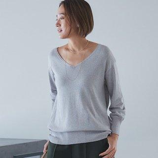 セーター/シルクコットンVネック