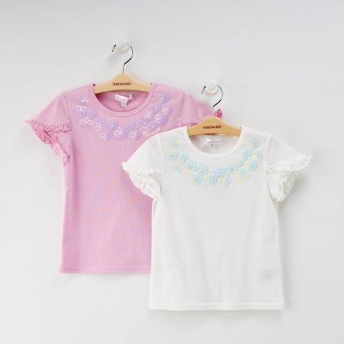 花プリントTシャツ