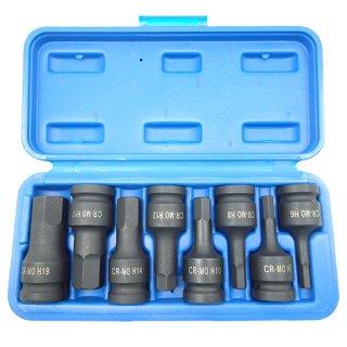 1/2(12.7) ショートヘックスソケットセット インパクト用 6角レンチ ソケットセット 6mm 7mm 8mm 10mm 12mm 14mm 17mm 19mm  60日安心保証付