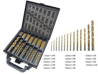 チタンコーティングドリルセット 刃 170本 1mm-10mm 電動ドリル 充電ドリル エアードリル インパクトドライバー等に使用 メタルケース付き