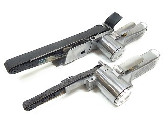 エアベルトサンダー 10mm 20mm 2台セット 替えベルト付き 角度調整付き バリ取り スポット溶接剥がし 他社ベルト使用可能 板金塗装工具