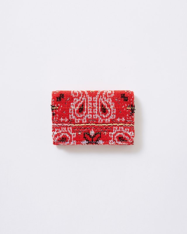 KNIT TWEED CARD CASE - BANDANA JAQUARD