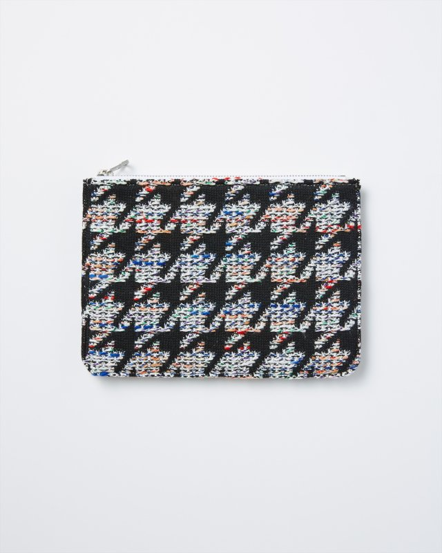KNIT TWEED POUCH - HOUNDSTOOTH TWEED