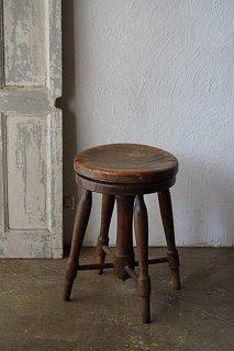 楡の回転スツール-antique elm round stool